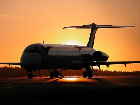 aviation, plane, Liner, sunset, aircraft