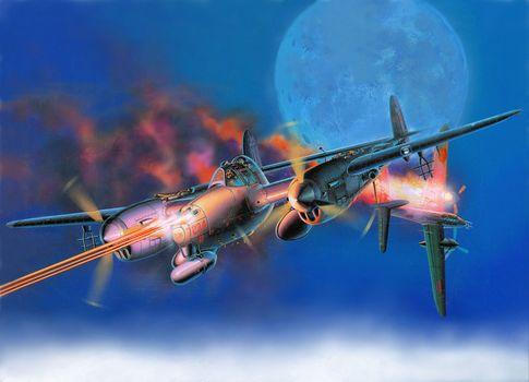 "heavy, moon, padded, flame, ""Lightning"", fire, Lockheed, fighter, sky, drawing, Japanese, aircraft, bomber, American, Art, ""Lightning"""