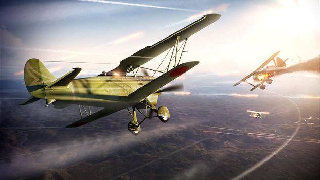 war, dogfight, aircraft, sky