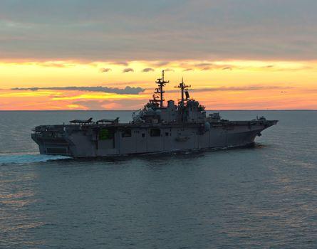 amphibious assault ship, fighters, sea, aircraft, swimming, deck, evening, sunset, wake