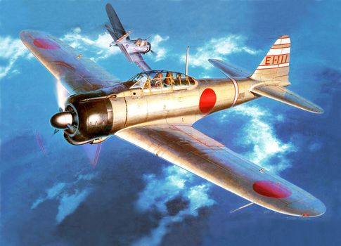sky, Art, deck, dogfight, bomber attack, American, aircraft, Japanese, diving, Navy Fighter, drawing