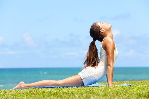 feet, aerobics, bending, grass, brown hair, girl, smile, beach
