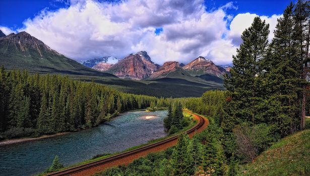 mountains, trees, a River and Train Tracks, river, Mountains, forest, trees, landscape