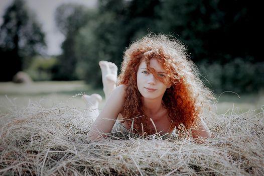 Beauty, curls, redhead, smile, portrait, summer, sun