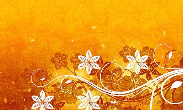 Flowers, Star, yellow background