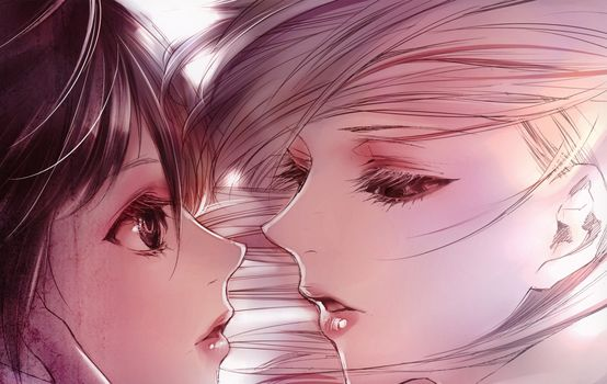 two, Close-up, Girls, almost kiss, drawing