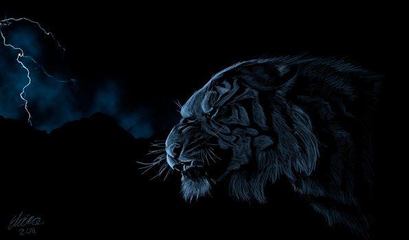 lightning, tiger, predator, head, Art