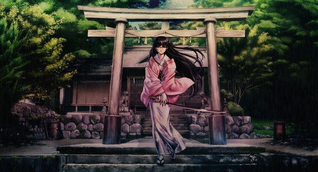 stage, rain, girl, Katana, sword