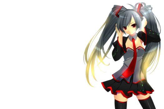 girl, vocaloid, white background