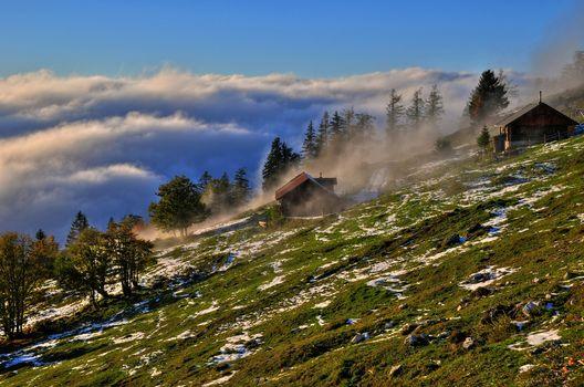 небо, облака, деревья, камни, склон, туман, трава, Австрия, горы, дом
