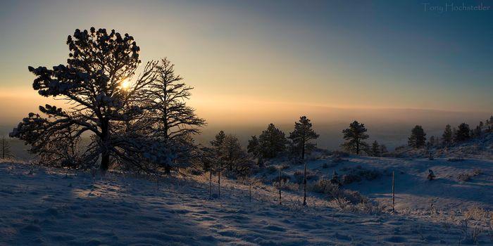 Rocky Mountain National Park, Colorado, sunset, winter