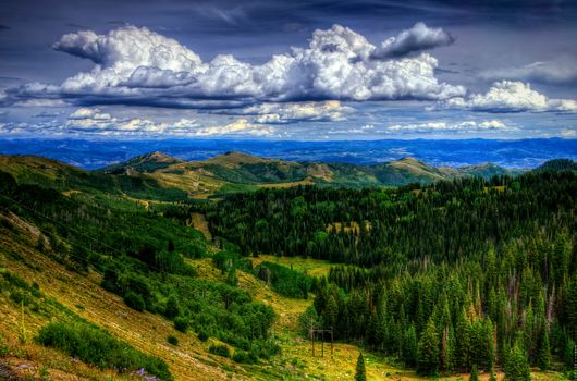 above Park City, Utah, Mountains, sky, trees, landscape