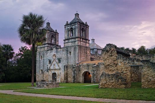 Mission Concepcion at sunrise, San Antonio, Texas