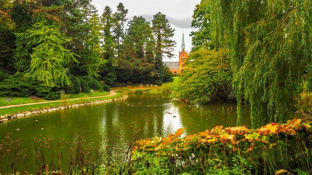 autumn, Denmark, park, pond, trees, landscape