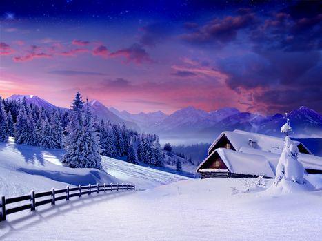 winter, landscape, snow, winter, snow, Christmas trees, hut, village