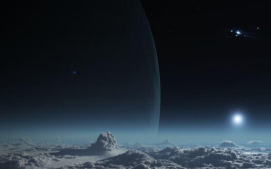 space, sky, clouds, 3d, art