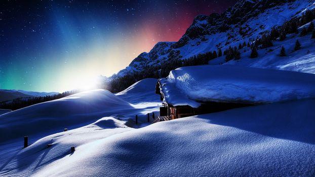 sunset, cabin, Mountains, winter, snow, landscape