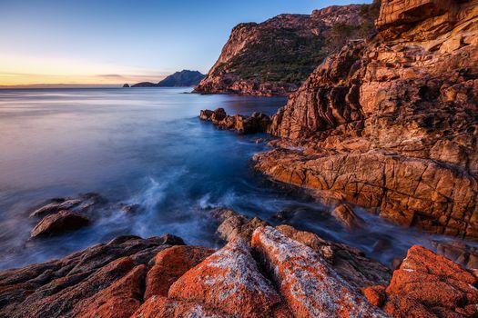 Freycinet National Park, Tasmania, sea, Rocks, sunset, landscape