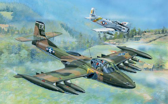 Art, aircraft, USA, A-37A Dragonfly