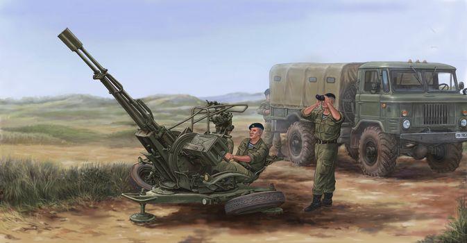 Art, Russian ZU-23-2 Anti-Aircraft Gun, soldiers, Gas-66