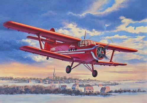 Art, plane, Kukuruznik, An-2, flight