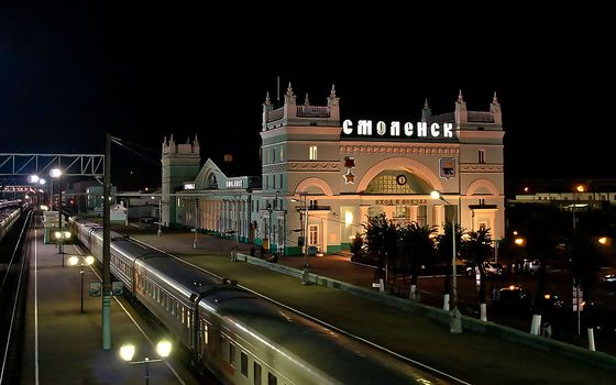 Russia, Smolensk, railway station, night, lights, train, cars