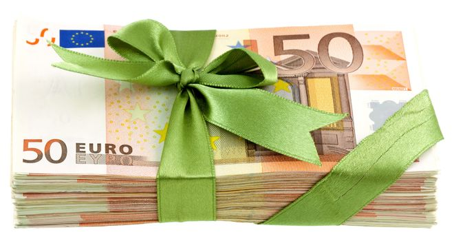 money, euros, bills, bill, note, pack, currency, bow