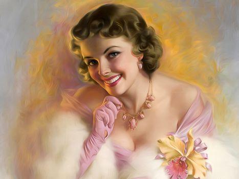 girl, portrait, necklace, decollete, smile, mood, gloves, flower, orchid