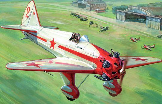 drawing, UT-1, Soviet, trainer, plane, ussr, airfield, runway, field, aircraft, people, hangars