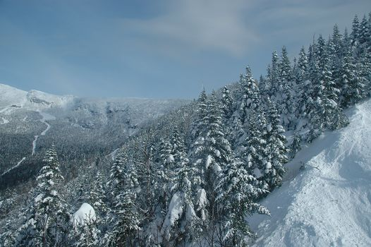 Stowe, Vermont, Mount Mansfield, Stowe, Vermont, Mount Mansfield, Mountains, winter, snow, forest, trees, spruce