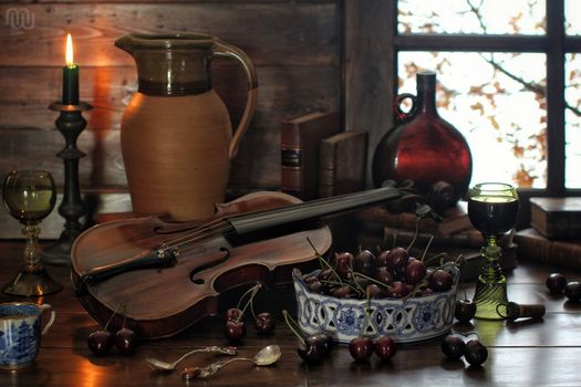 BERRY, cherry, violin, pitcher, candle, stemware, bottle, Books, Spoon, still life