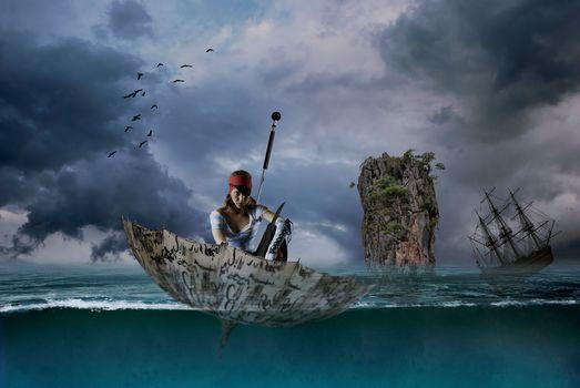 girl, pirate, umbrella, umbrella, sea, sailfish, frigate, rock, situation