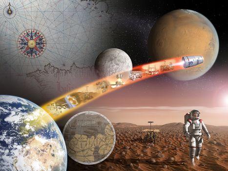 space, land, moon, Mars, planet, SURFACE, Satellite, Cosmonauts, man, map, Star, science, equipment, ESA, ESA, dawn, HORIZON, flight