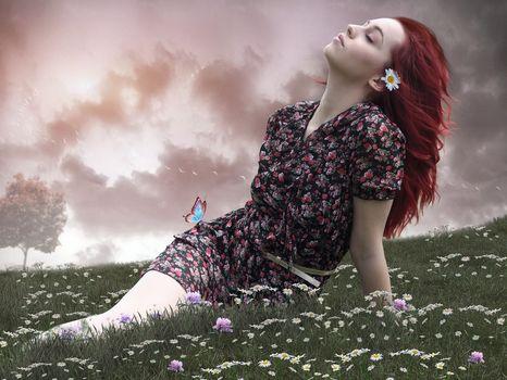 girl, mood, meadow, Flowers, Chamomile, butterfly