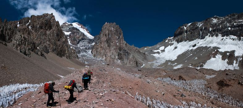 Aconcagua, Mendoza, Argentina, Mountains, tourists, alpenisty, sky