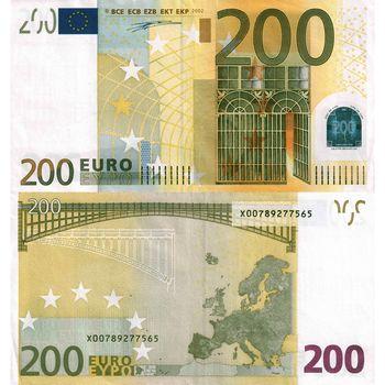 money, euros, bill, note, 200