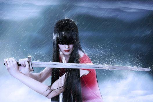 sword, rain, girl, brunette