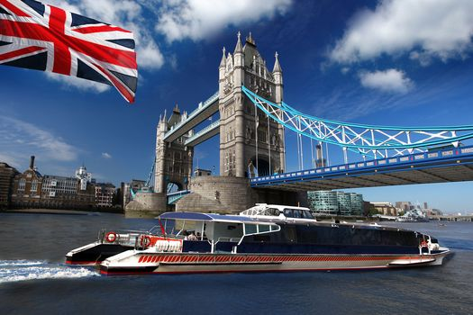 British, flag, motor ship, Tower Bridge, london, great britain