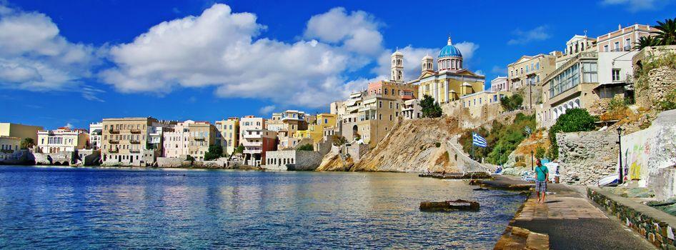 Coast, Ermoupolis, Syros island, Greece, panorama