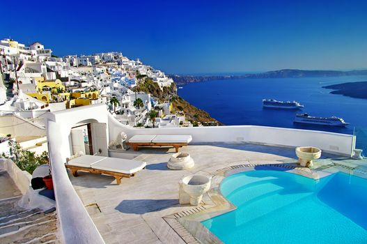 swimming pool, ships, caldera, Oia town, Santorini island, Greece