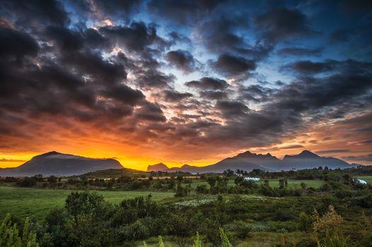 sky, sunset, Clouds, mountains, Lofoten Islands, norway