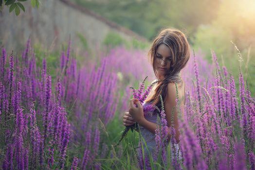 girl, Flowers, meadow, mood
