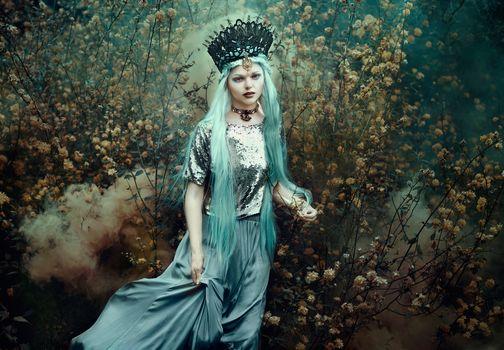 girl, queen, crown, blue hair, bush, style