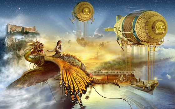 Monde Imaginaire, Castle, Dragon, water, airships, trains, bridges