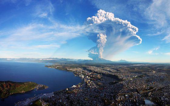 city, volcano, explosion, landscape