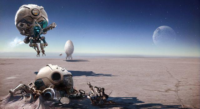 igor_sobolevsky, Imaginary landscape, drones, crash, moon, desert, Flight