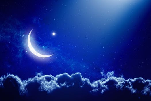 moon, sky, Clouds, night