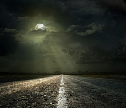 moon, road, sky, Clouds, night