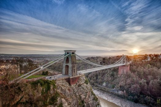 Clifton Suspension Bridge, opened in 1864, covering the Avon Gorge and the River Avon, linking Clifton in Bristol to Leigh Woods in North Somerset, England, Clifton Suspension Bridge, Nr Bristol