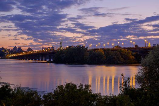 evening, bridge, river, Dnieper, Kiev, Ukraine, statue, motherland, city, home, lights, trees, sky, clouds
